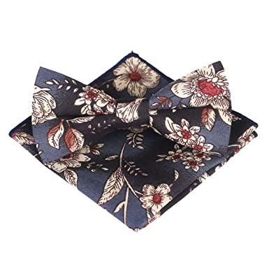ZOYLINK Pocket Square Bow Tie Set Imprimir Bolsillo Pañuelo ...