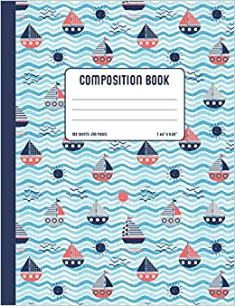 Nautical Composition Book: Cute College Ruled Notebook with