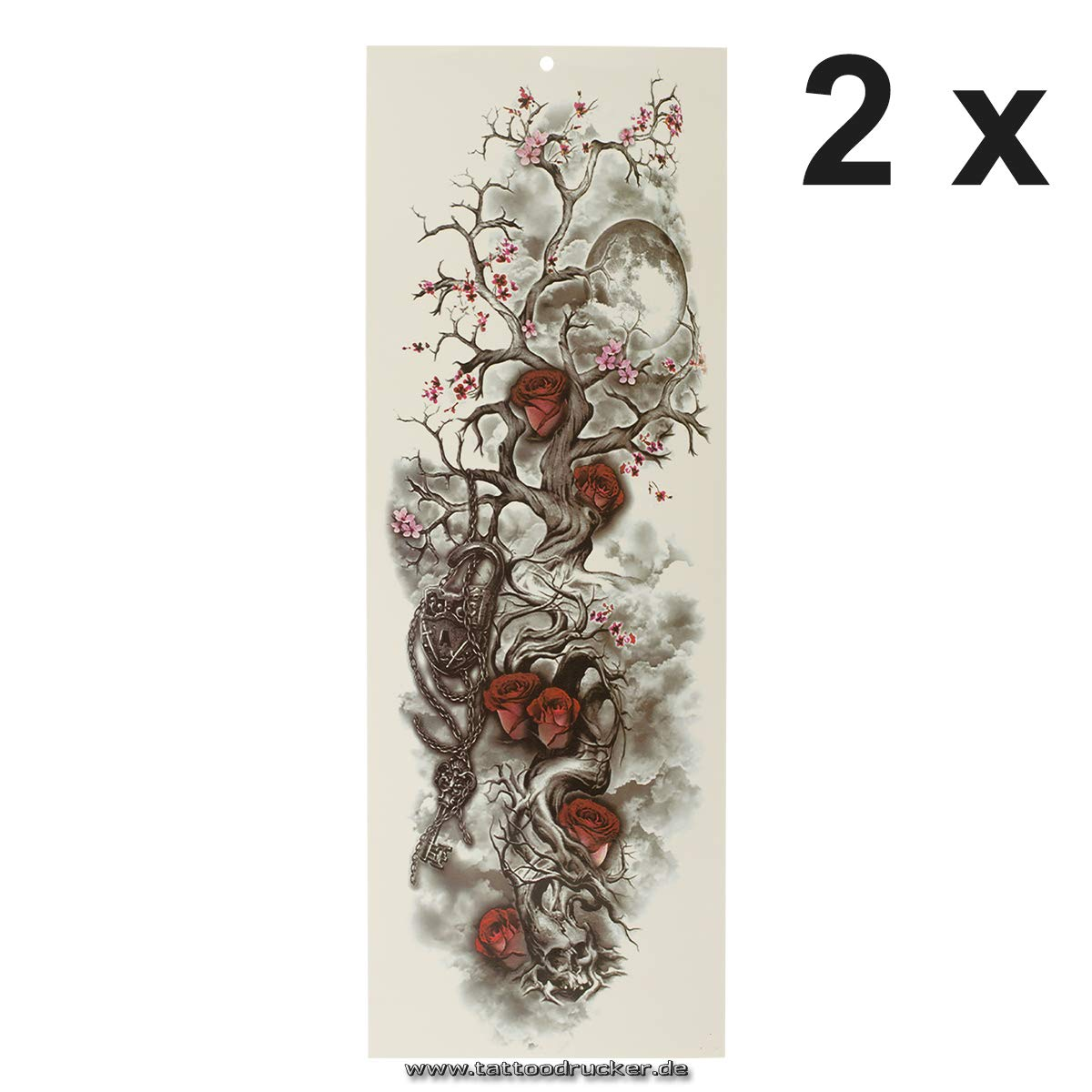Tatuaje de brazo XXL – Flores de cerezo, ciervo, luna y rosas ...