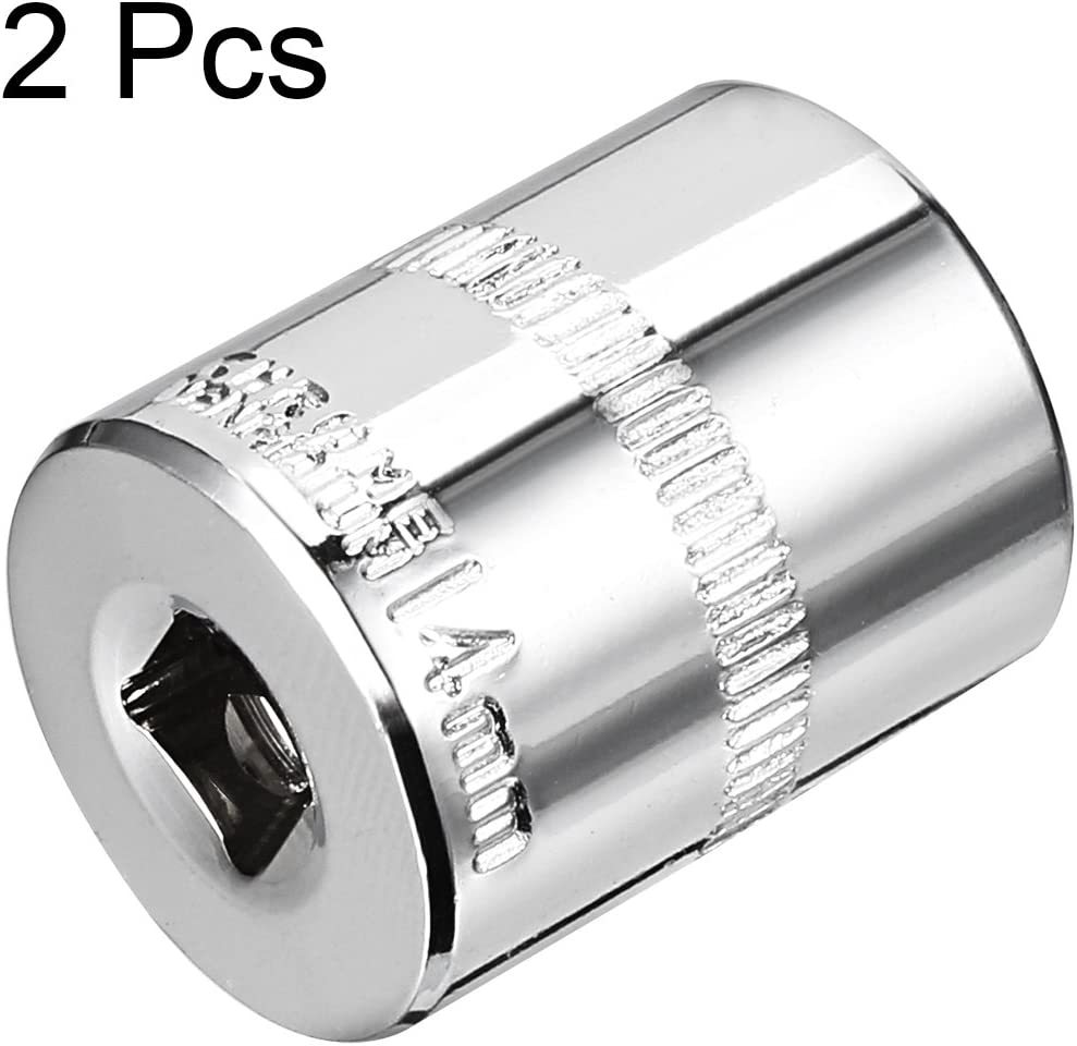 sourcingmap 2 Pcs 1//4-Inch Drive 4.5mm 6-Point Shallow Socket Metric Cr-V