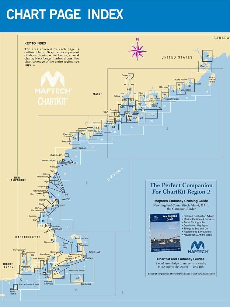 Maptech Chartkit Region 2 Block Island RI to Canadian Border 16th Edition