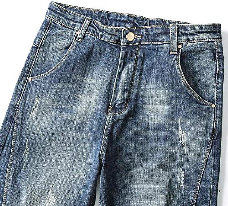 YANGPP Harem Jeans Für Männer Blau Elastische Hip Hop Streetwear Lose Haren Hosen Gepatcht Dancer Jeans Freizeit Męskiehose, Blau, 31: Sport & Freizeit