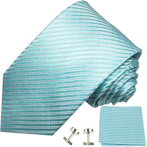 - Paul Malone Necktie, Pocket Square and Cufflinks 100% Silk Turquoise