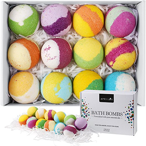 Aprilis Bath Bombs Gift Set, Multi-Colored Vegan Bath Bomb Kit with Organic Essential Oils, Exclusive Floating Fizzies, Perfect Birthday Gift idea For Her, Women, Teen Girls and Kids – Pack of 12