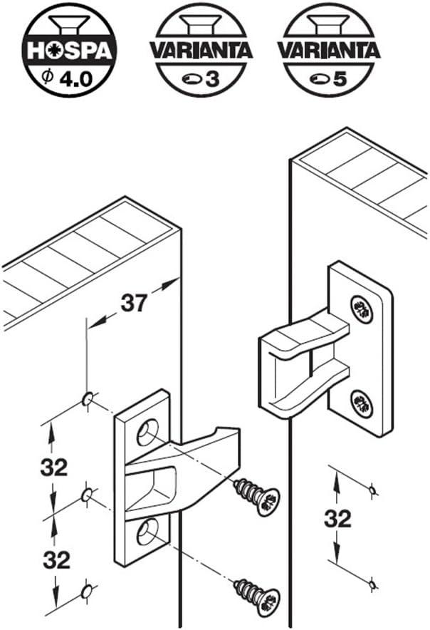 HAFELE Keku EH Plaques de Partie et Cadre Support de Panneau Connecteur /à Visser sur les Sous-Constructions Raccords Suspendus pour Meubles Panneaux Jusqu/à 20kg Plastique 4 PCS