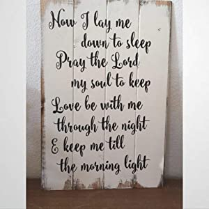 BYRON HOYLE Wooden Sign Now I Lay Me Down to Sleep, Wood Sign Magnolia Market Wood Plaque Wall Art Funny Wood Sign Wall Hanger Home Decor