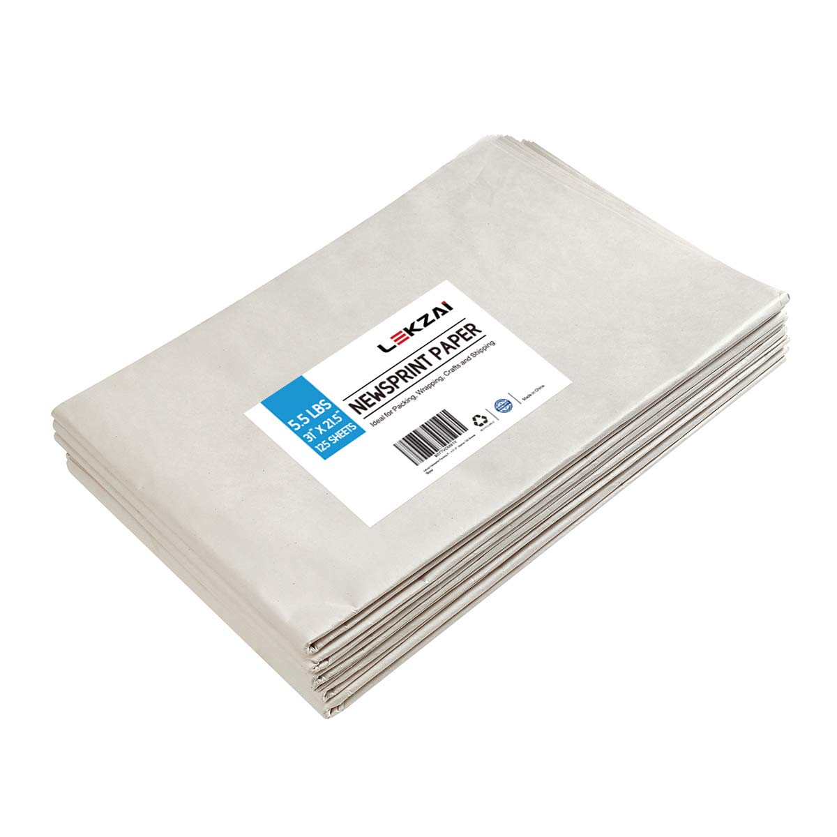Lekzai Newsprint Packing Paper, 5.5 lbs, 31'' x 21.5'', Approx 125 Sheets by Lekzai