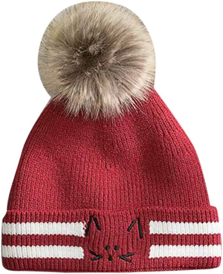 Noir Mamum Unisexe Bonnet Bebe Fille Hiver Calotte Chapeau Tricot/é Fille Casquettes Chapeaux Oreilles de Chat Mignon