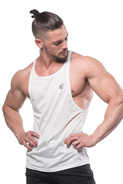 4877b6193d Jed North Men s Bodybuilding Workout Mesh Stringer Tank Top Open Cut  Racerback at Amazon Men s Clothing store