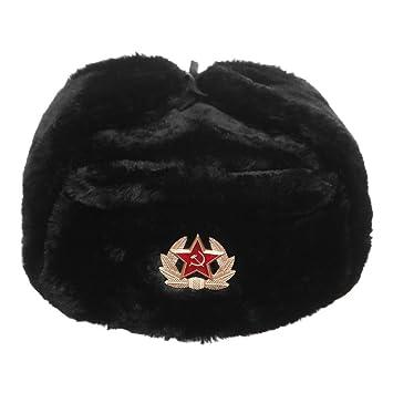 ae02e969f Russian / Soviet winter black fur Ushanka hat size L (59 cm): Amazon ...