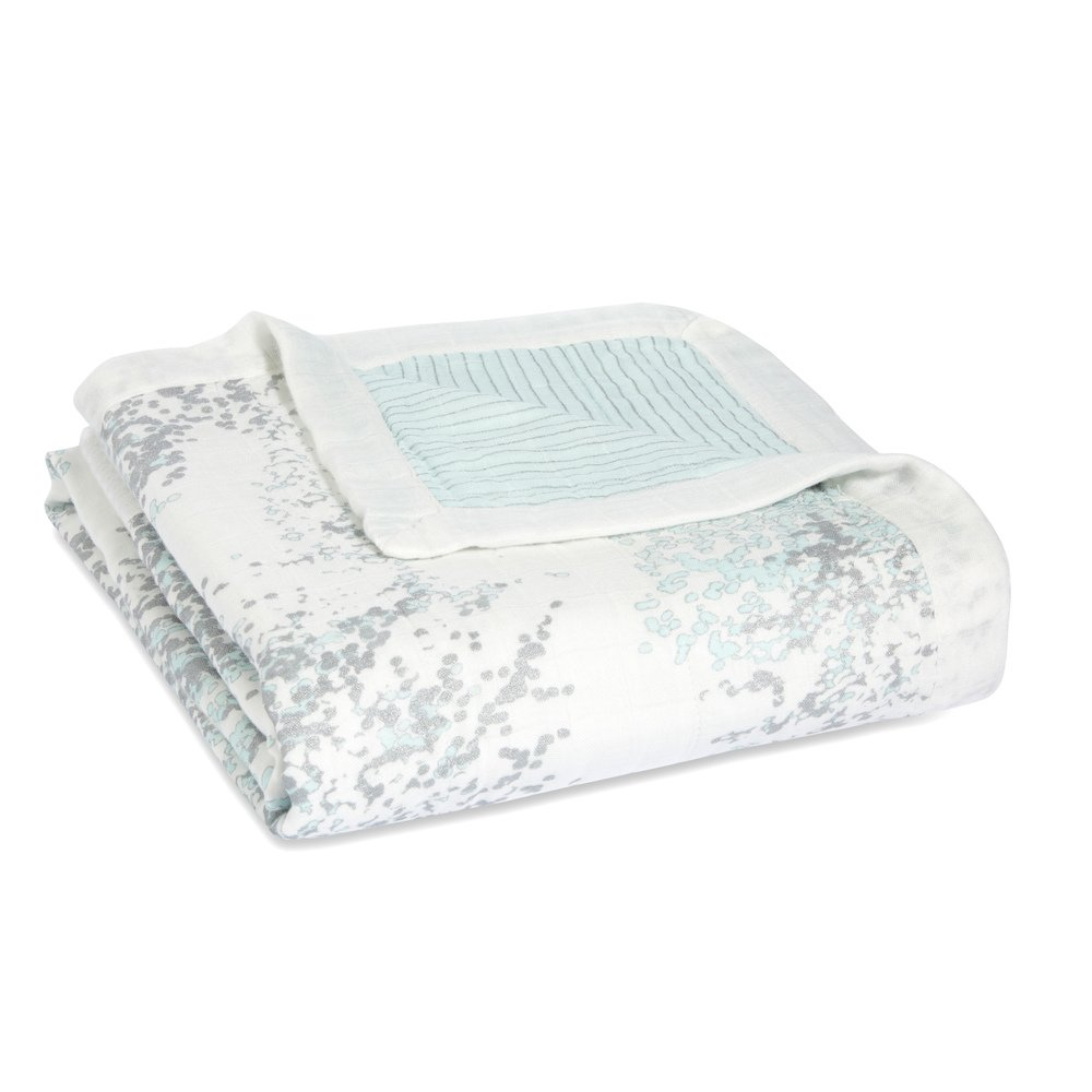 aden + anais silky soft dream blanket; metallic skylight birch