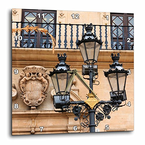 3dRose Danita Delimont - Lamps - Spain, Balearic Islands, Mallorca, street scenes, street lamp post. - 15x15 Wall Clock (dpp_277907_3) by 3dRose
