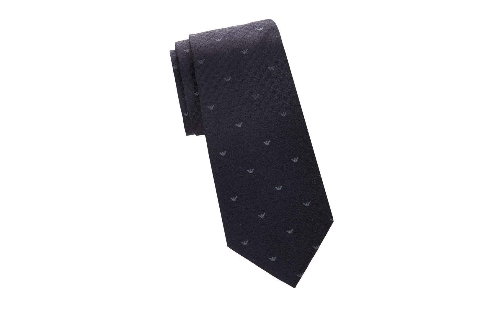 Armani Collezioni Men's Logo Patterned Italian Silk Tie