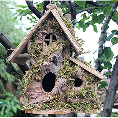 QTMY Wood Bird House for Outside,Preservative Wooden Birds Cage Feeder Nestting Box Garden Decoration