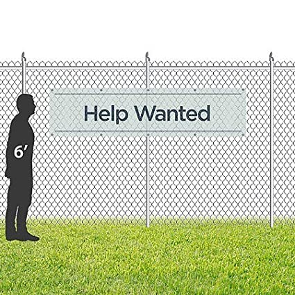 Basic Teal Wind-Resistant Outdoor Mesh Vinyl Banner Help Wanted 16x4 CGSignLab