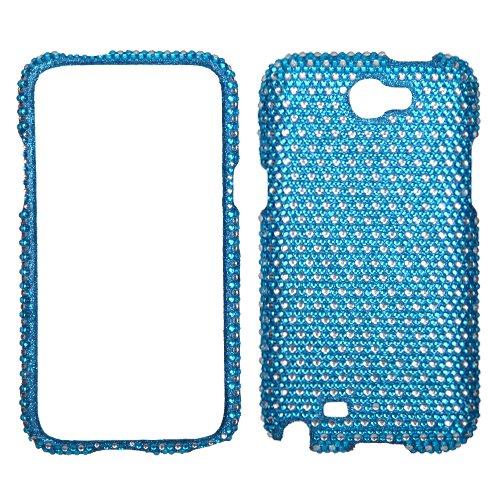 For SAMSUNG T889(Galaxy Note II) Case Cover Bling Rhinestones Dots Blue/white (Mybat Rhinestones)