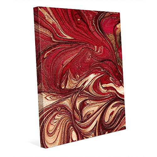 Burgundy Red Art Print - Garnet and Gold (Non-Metallic) Abstract Marbled French Book Endpaper Swirls in Red Burgundy Maroon Brown Beige Wall Art Print on Canvas