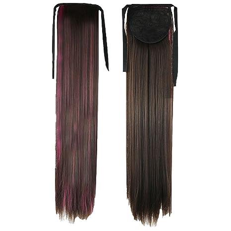 PrettyWit 22 pulgadas atar peluca cola de caballo recta extensiones de cabello peluca peluca (rosa