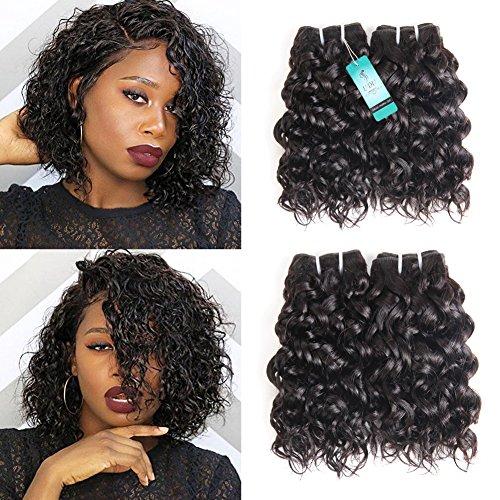 Water Wave Human Hair Bundles, Ocean Wave Wet and Wavy Bundles, UDU Malaysian 50g Human Hair Extensions, Remy Hair Bundles Short Curly Hair (8 8 8 8inch) ()