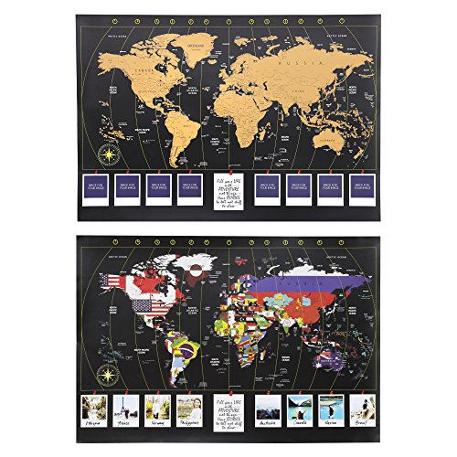 XL Personalized World Scratch Map Scratch-Off Map's Gold Layer to Reveal Country Flags - Detailed Cartography with U.S, Canada, and Australian States Outlined. Perfect Gift for Travelers