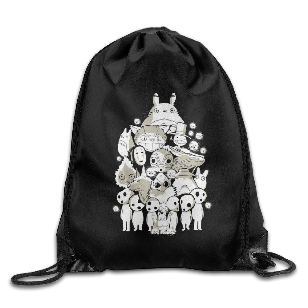Funny Cartoon Animal Spirited Away No Face Totoro Drawstring Backpack Bag White