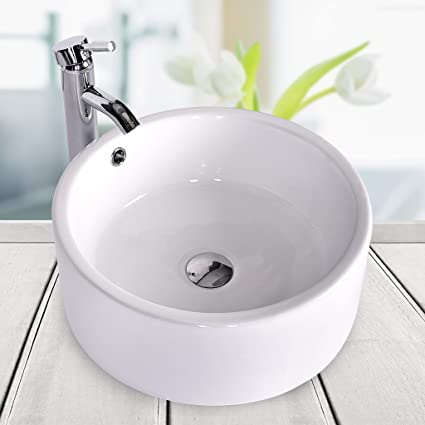 Bathroom Ceramic Vessel Sink Brass Faucet Combo Lavatory Modern Pop