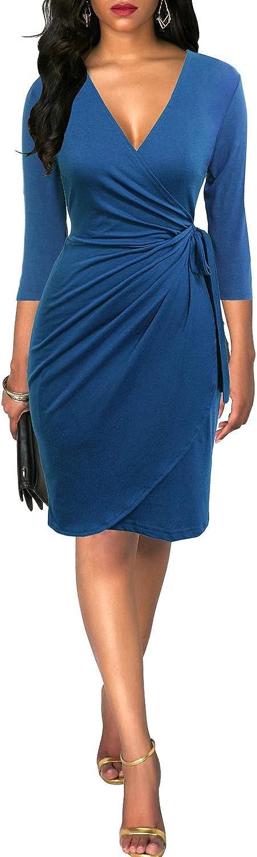 Berydress Womens Classic 3//4 Sleeve V Neck Sheath Casual Party Work Faux Black Wrap Dress