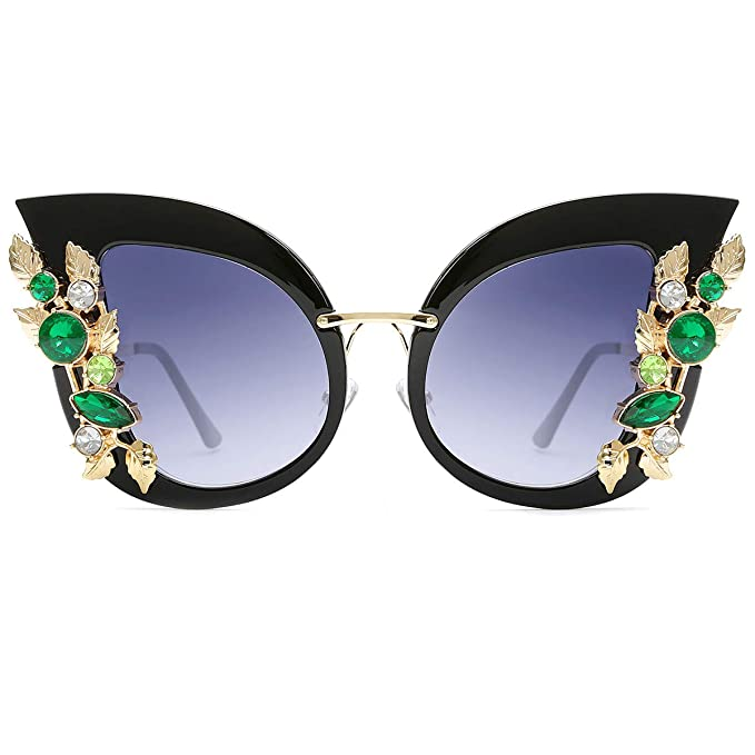 39036ca30a7 Image Unavailable. Image not available for. Color  Slocyclub Womens  Oversized Cat Eye Jeweled Sunglasses Stylish Design with Diamond