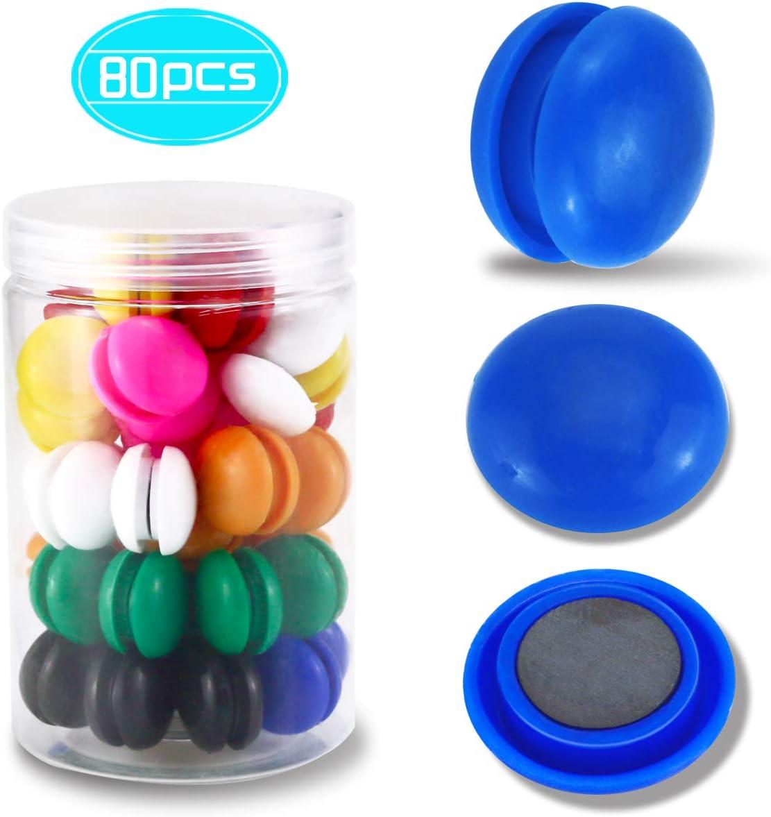 DLOnline 80 Pieces 2cm 0.8'' Half Ball Mini Fridge Magnets, Round Button Magnetic Office Supplies Magnets(8 colors)