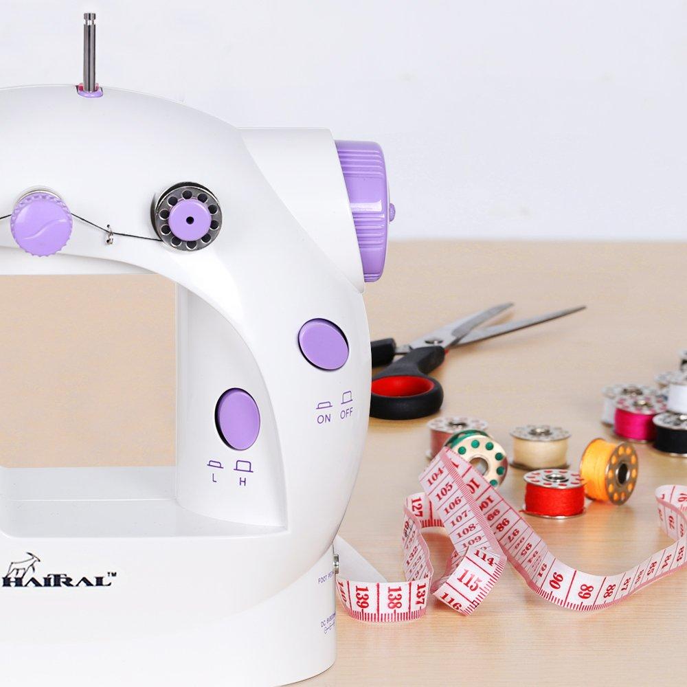 Violet Mini machine /à coudre 2 vitesses avec 25 bobines et fil /à coudre Veilleuse Utilisation la nuit