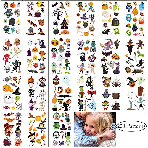 Halloween Tattoos Sticker Party Supplies Halloween Temporary Tattoo 200+ Patterns Fake Decals Trick or Treat Ghost Monster Pumpkin Tattoo for Kids Men Women Boys Girls Body Decorations