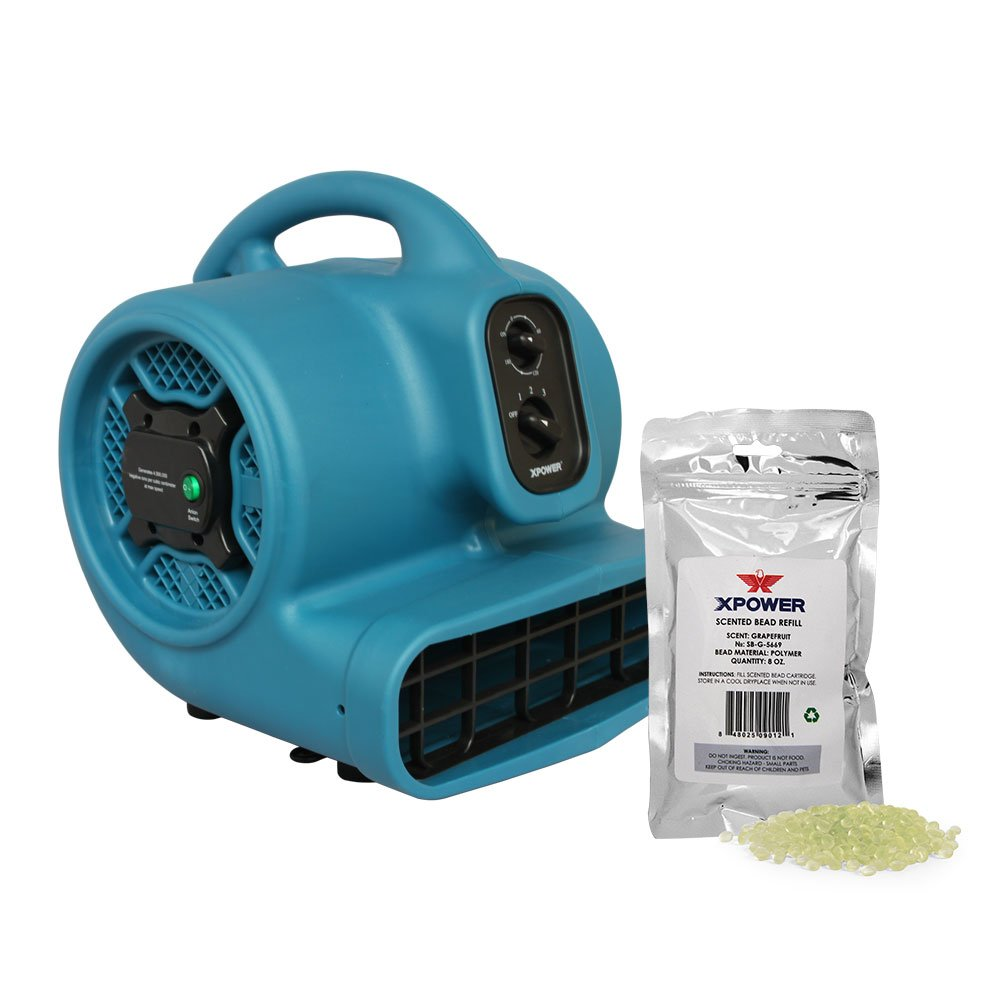 XPOWER P-450NT Freshen Aire 1/3 HP Scented Air Mover with Ionizer, Timer & Freshener Beads Refill (Grapefruit, 8 oz) by XPOWER