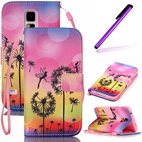 Galaxy S5 Mini Case,LEECO Card Slots Wallet Function Premium PU Leather Flip Folio Kickstand Protective Case Cover for Samsung Galaxy S5 Mini Dandelion & Fly - Bieber Fly Justin