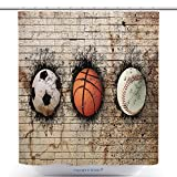 Antibacterial Shower Curtains Depositphotos_70904995 Stock Photo Basketball Baseball And Soccer Polyester Bathroom Shower Curtain Set With Hooks