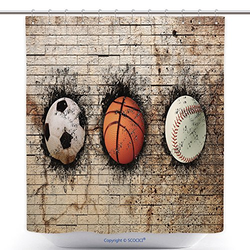 Antibacterial Shower Curtains Depositphotos_70904995 Stock Photo Basketball Baseball And Soccer Polyester Bathroom Shower Curtain Set With Hooks by
