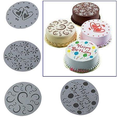 wildlead 4 piezas/juego para tartas Spray Forma HAPPY ...