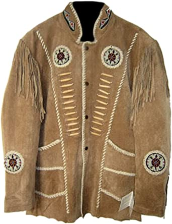 coolhides Mens Western Leather Jacket Fringed Bones and Beaded
