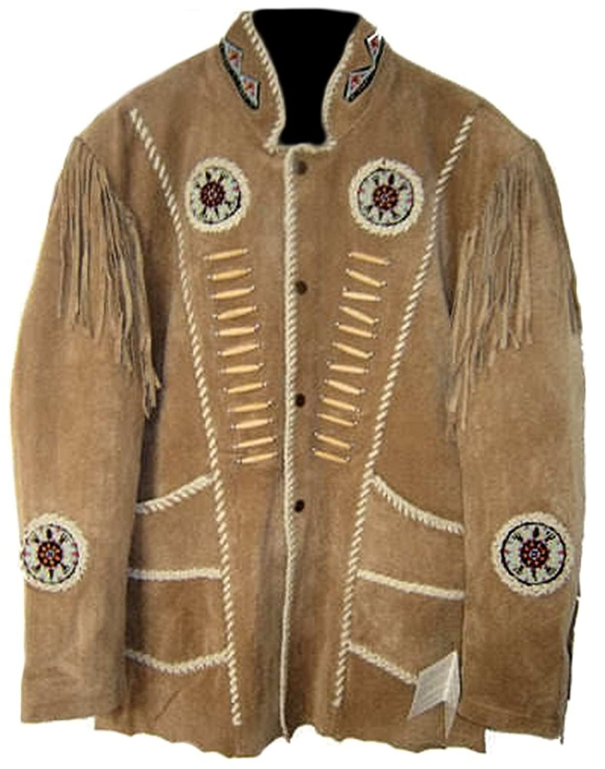 Classyak Men's Western Cowboy Jacket with Fringes,
