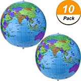 Pangda 16 inch Inflatable Globe Inflatable World Globe Beach Ball Globe for Educational Beach Playing, Colorful (10)