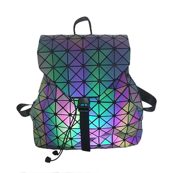 2d655be8f2 JUNBOSI Zainetto geometrico luminoso con paillettes laser zaino tracolla  Satchel zaino per donne e uomini triangolare Shard Lattice design PU borse  in ...