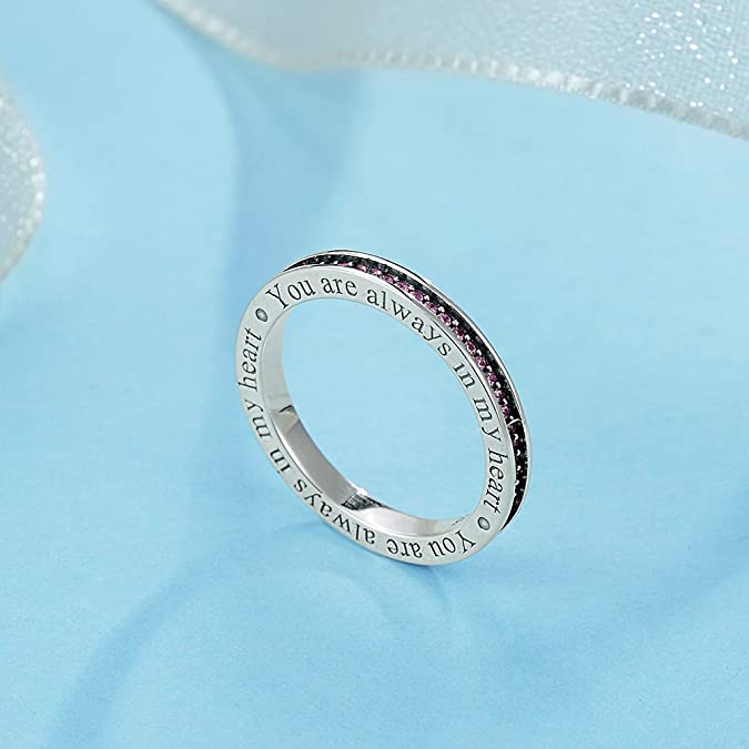 TONGZHE I Will Always by Your Side Love Eternity Band Ring in Antique Sterling Silver w//Blue CZ Size 6-8