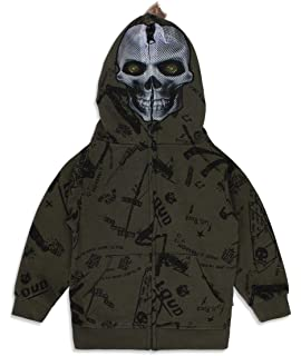 Full Zip Up Hoodie for Boys and Girls Soft Sweatshirt with Alien Full Face Mask