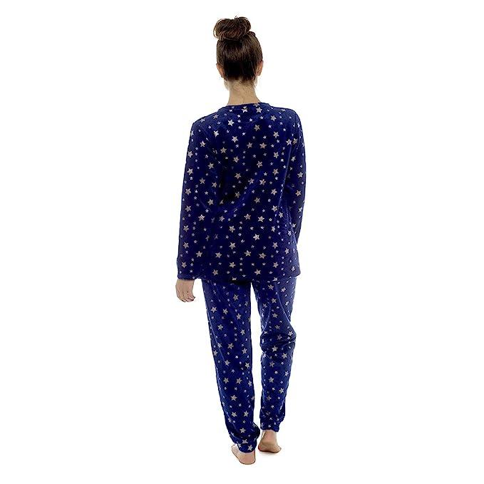 0a18dc43eb70 Foxbury Womens Twosie Pyjama Set Soft Fleece Foil Printed Star Pattern PJs  Long Sleeve Crew Neck Top Trousers Navy Blue Grey  Amazon.co.uk  Clothing