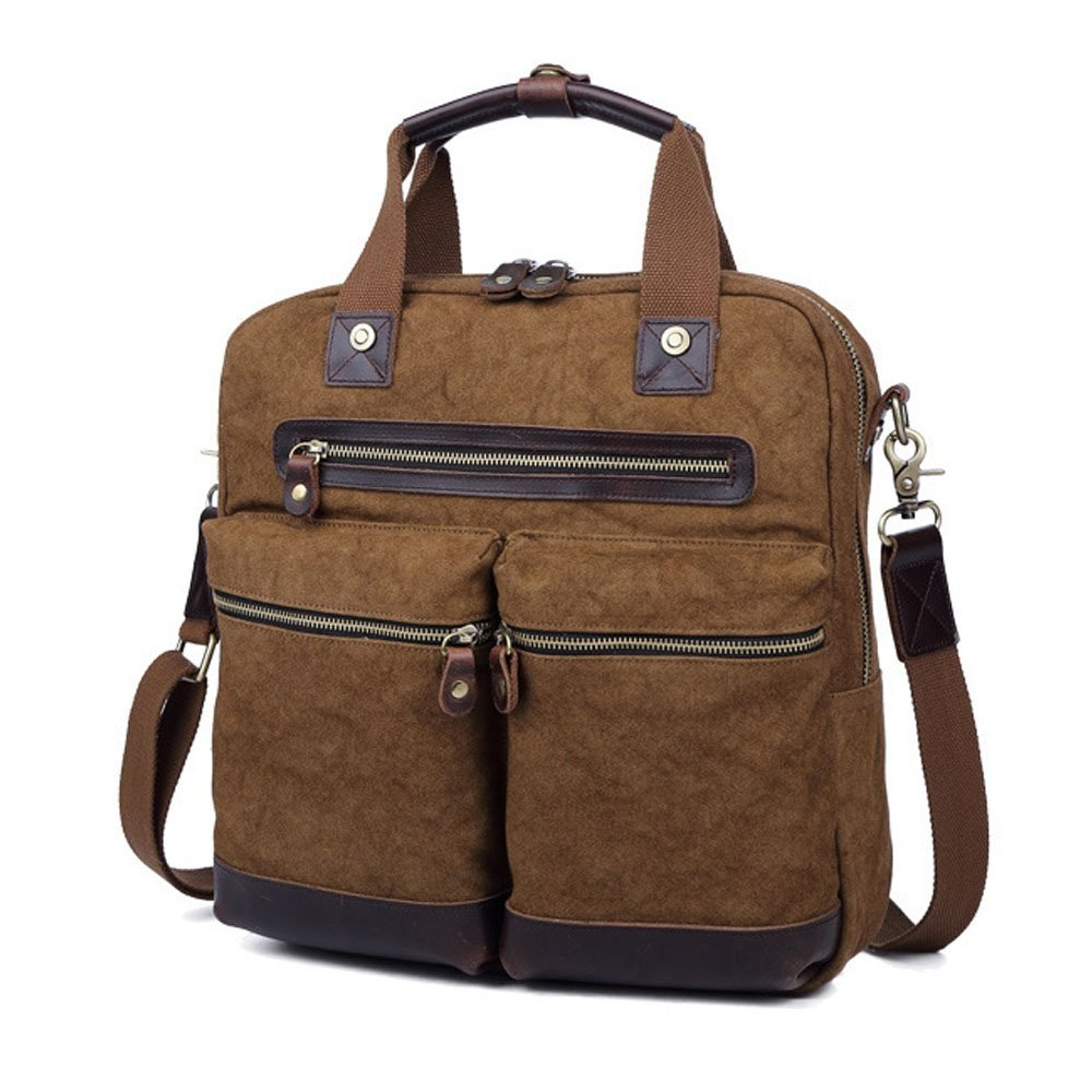 Multi-Color Optional KTYXDE Canvas Bag European and American Style Fashion Casual Mens Handbags Documentary Computer Mens Bag 33 35 9cm Briefcase Color : Green