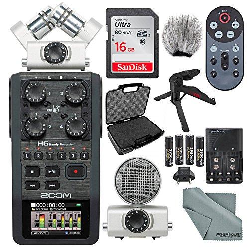 Zoom H6 Portable Recorder with Interchangeable Mic System Deluxe Bundle w/Case + Remote + XPIX Tripod + 16GB + Windscreen + Batteries + Fibertique Cloth ()