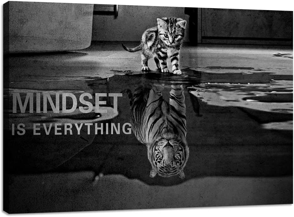 Motivational Canvas Wall Art Cat Tiger Mindset is Everything Inspirational Entrepreneur Quotes Poster Print Artwork Painting Picture for Office Living Room Home Decor Framed Ready to Hang - 24