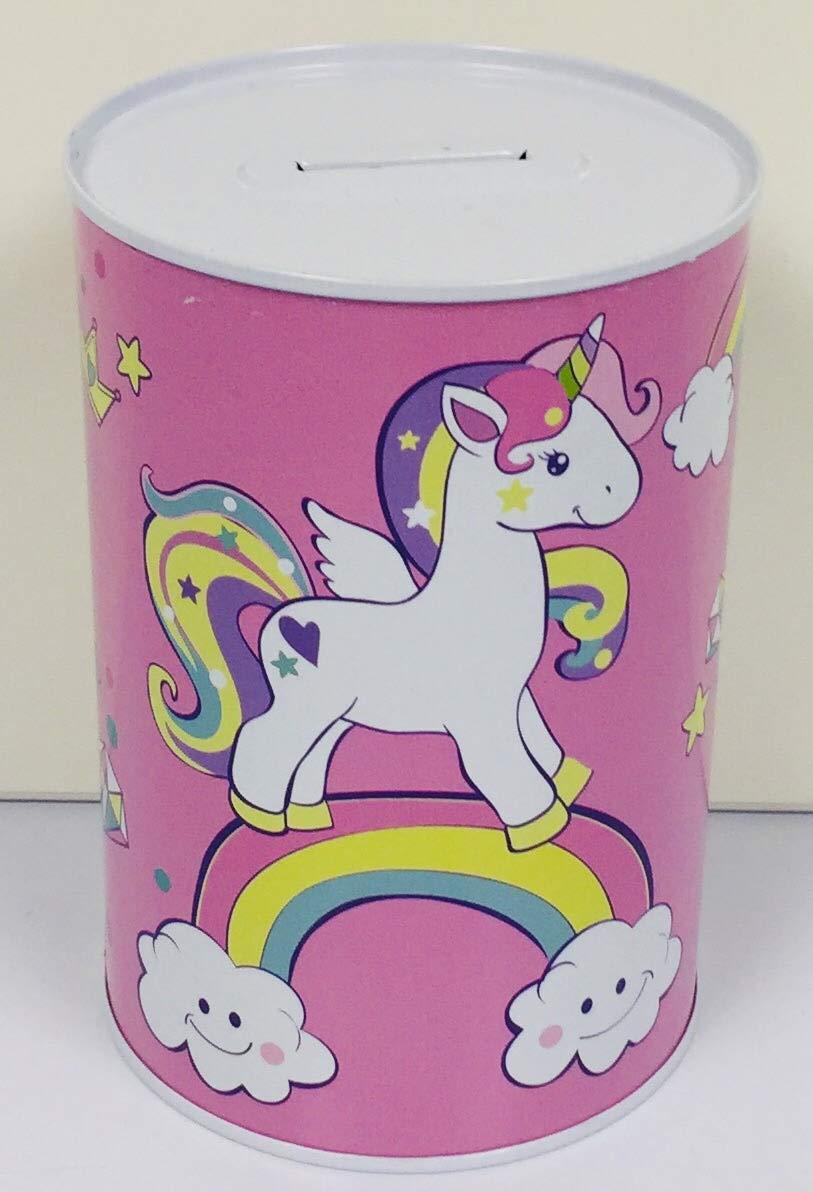Crown Crest Unicorn Standing on Rainbow Money Bank Money Box Piggy Bank Savings Collection Tin