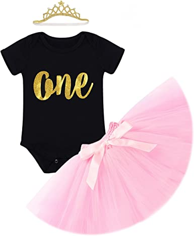 FYMNSI Newborn Baby Girl 1st Birthday Outfit First One Year Birthday Princess Dress Toddler Kids Gold One Long Sleeve Floral Romper Pink Tutu Skirt Party Cake Smash Photo Shoot 2pcs Clothes Set 0-24M