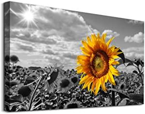 Canvas Wall Art for Bedroom Wall Decor for Living Room Modern Family Bathroom Canvas Art Kitchen Black and white Pictures Artwork Yellow Sunflower flower Wall Paintings Ready to Hang Home Decorations