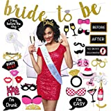 Bachelorette Party Decorations Kit | Ultimate Bridal Shower Supplies Pack All-In-One 37 Piece Bride To Be Package | Bride Sash, Tiara, Veil, Badge, Banner, Photo Props by Scapa Pro
